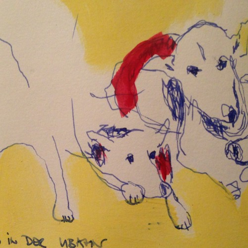 Hund in der U-Bahn - Kunst von Petra Annemarie Schleifenheimer